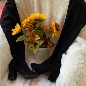 Ladies suede thigh high boots